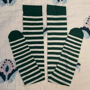 NWT Adore Me green striped thigh high stockings